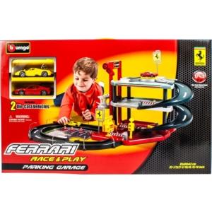 Bburago_RJ Ferrari parkolóház +2 db kisautó 1:43