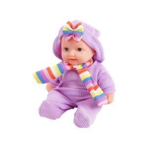 Játékbaba ruhában sállal - 24 cm, többféle