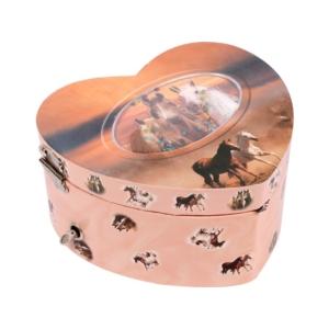 Szív alakú zenélő doboz, lovas -HOR-006BR-