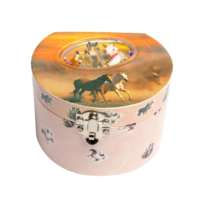 Félkör alakú zenélő doboz, lovas