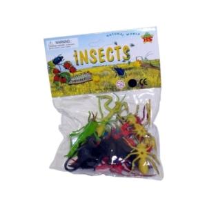 Műanyag rovarok 8 cm, 12 db/csomag