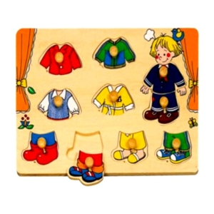 10 db-os Fa puzzle - öltöztető fiú kirakó