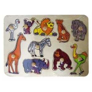 10 db-os Fa puzzle - Afrikai állatok
