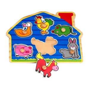 Fa puzzle tanyasi állatok