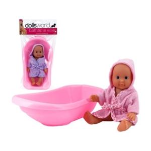Ellie fürdethető baba káddal - 18 cm, többféle
