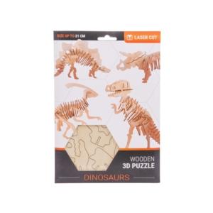 3D fa puzzle - dínók, 4 féle 21cm