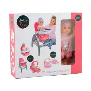 Baby Rose 3IN1 etetőszék és 30 cm baba