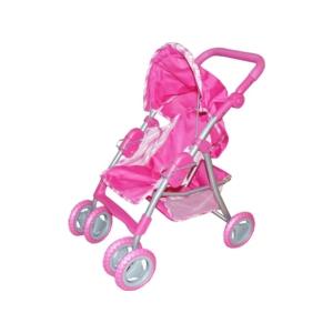 Babakocsi lábtartóval és kosárral - rózsaszín
