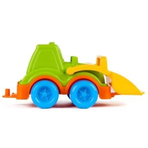 Műanyag markolós traktor - zöld, 13 cm