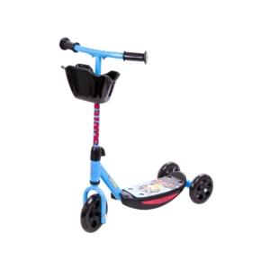 Háromkerekű roller kosárkával - kék színű
