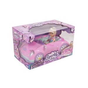 Sparkle girlz - Rózsaszín kabrió+30cm baba
