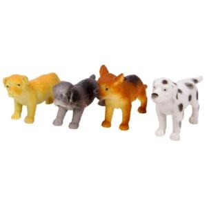 Műanyag kutyák 6,5 cm, 4 db/csomag