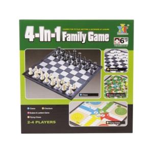 4IN1 társasjáték (sakk, dáma, ki nevet a végén, létrék és kígyók)