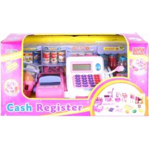 Játék pénztárgép, fehér-rózsaszín