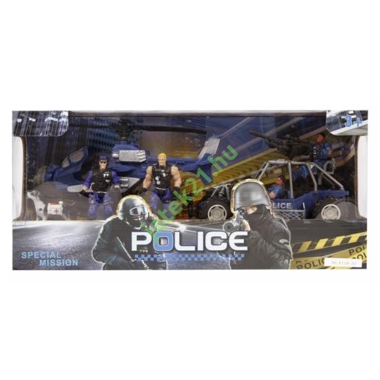 Rendőr autó és helikopter készlet