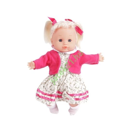 Hajas játékbaba virágos ruhában - 30 cm