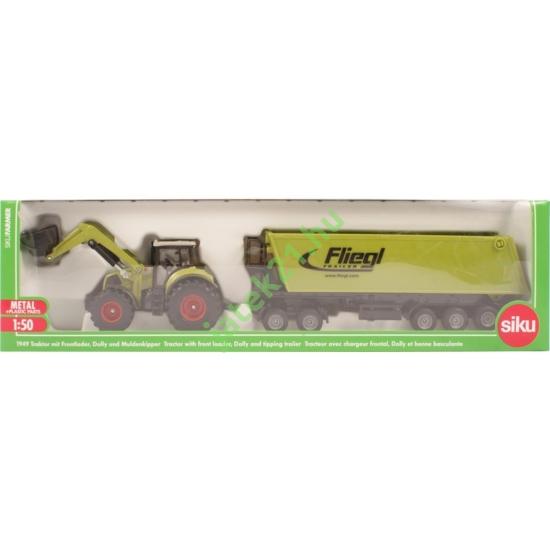 SIKU_RJ - Traktor emelővel és trélerrel