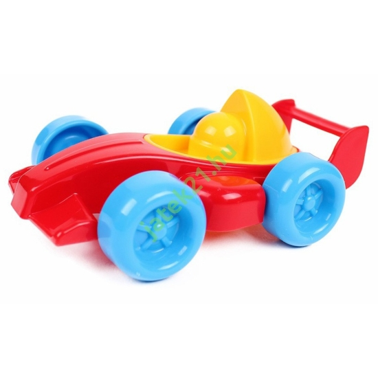 Műanyag versenyautó - piros, 10 cm