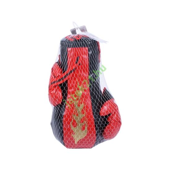 Boxzsák kesztyűvel - piros-fekete