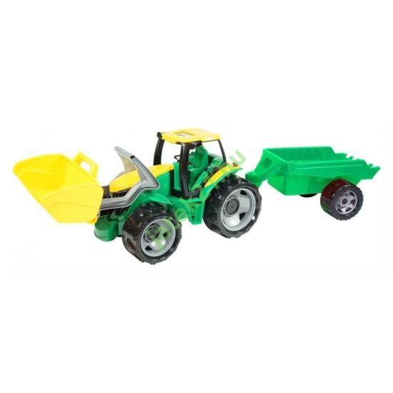 Traktor markolóval és utánfutóval